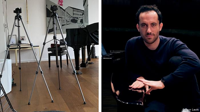 Cameras positioned on tripods before a piano (left), Igor Levit (right) (Igor Levit)