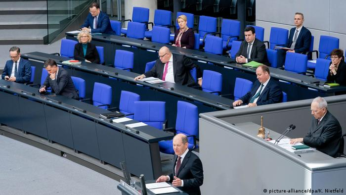 Finance Minister Olaf Scholz speaks to Partliament