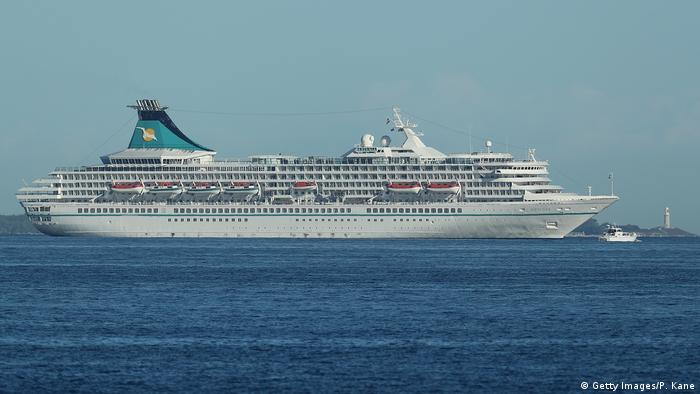 The cruise ship Artania anchored offshore