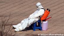 Coronavirus erschöpfter Mitarbeiter in Südkorea