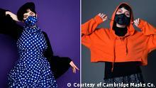 Title: Cambridge 1 / and Cambridge 2 Description: Models wearing the new creation of UK based company Cambridge Masks Keywords: Air masks, fashion, fashionable air masks, pollution, coronavirus, Cambridge Masks Copyright: Courtesy of Cambridge Masks Co.