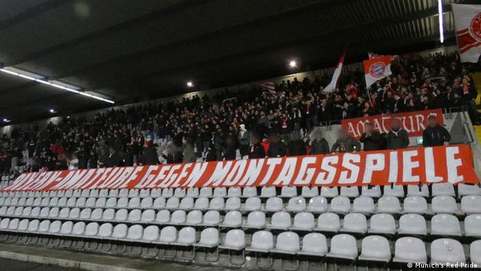 لافتة تم رفعها في مبارات بايرن ميونيخ الثاني احتجاجا على إقامر مبارايت مساء الاثنين