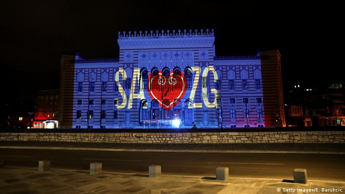 Sarajevo City Hall illuminated with a message of support for Zagreb, hit by an earthquake on March 22nd (Getty Images/E. Barukcic)