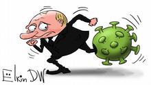 Karikatur von Sergey Elkin: Coronavirus mengt Putin die Karten
