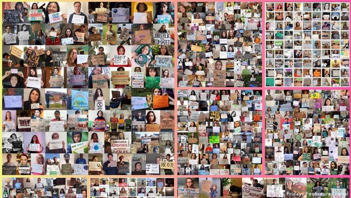 A collage of hundreds of online climate strikers holding up posters