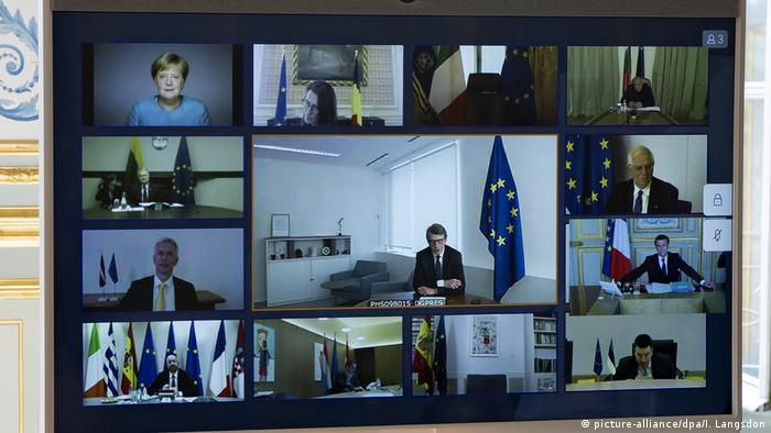 Symbolbild Coronavirus - EU-Videogipfel (picture-alliance/dpa/I. Langsdon)