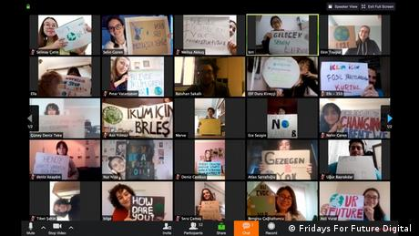 Fridays For Future Turkey share a glimpse of their video conference via Zoom where members discuss their strategies