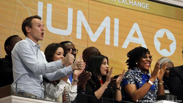 Sacha Poignonnec and Juliet Anammah during Jumia's IPO
