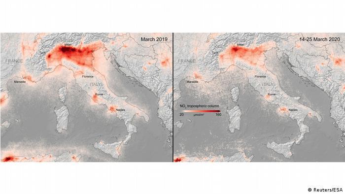 Italien   Coronavirus   ESA-Aufnahmen   Stickstoffdioxid 2019 vs. 2020