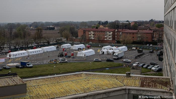 Cremona Hospital with a field hospital in its parking lot in Cremona, near Milan