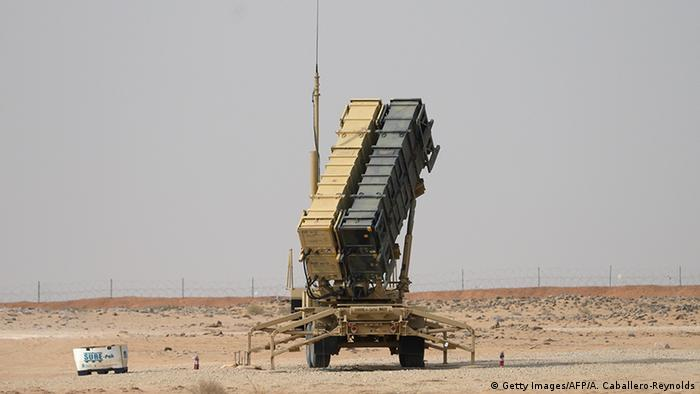 A Patriot missile battery is seen near Prince Sultan air base at al-Kharj on February 20, 2020