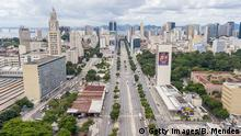 RIO DE JANEIRO, BRAZIL - MARCH 24: An aerial view of a nearly empty Presidente Vargas Avenue and Central do Brasil Station in the center of the city during a lockdown aimed at stopping the spread of the (COVID-19) coronavirus pandemic on March 24, 2020 in Rio de Janeiro, Brazil. Accord