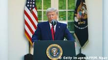 US President Donald Trump speaks during the daily briefing on COVID-19 in the Rose Garden of the White House in Washington, DC on March 30, 2020. (Photo by MANDEL NGAN / AFP) (Photo by MANDEL NGAN/AFP via Getty Images)