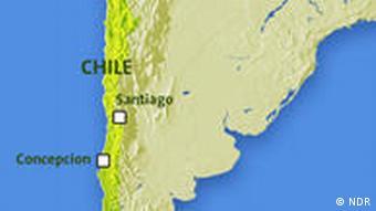 Karte von Chile mit Santiago und Conception (Grafik: NDR)