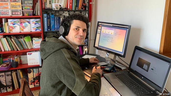 Giovanni Cerana at work in his home