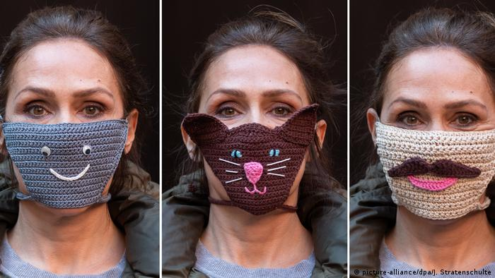 Máscaras bucais de crochê