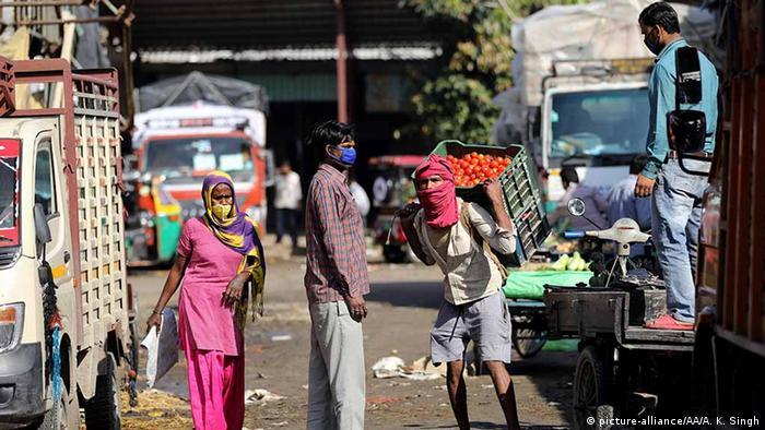 Vegetable vendor at a wholesale market in New Delhi