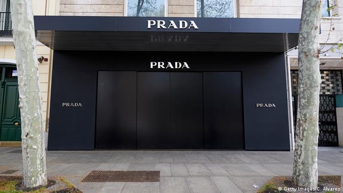 Closed doors of Prada shop