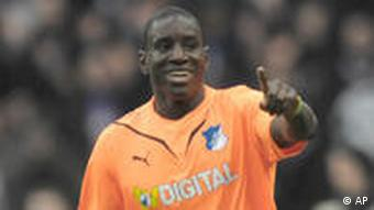 Hoffenheim's Demba Ba celebrates after scoring the first goal for his team during the German first division Bundesliga soccer match between Hertha BSC Berlin and TSG 1899 Hoffenheim in Berlin, Germany, Saturday, Feb, 27, 2010. (apn Photo/Kai-Uwe Knoth) **NO MOBILE USE UNTIL 2 HOURS AFTER THE MATCH, WEBSITE USERS ARE OBLIGED TO COMPLY WITH DFL-RESTRICTIONS, SEE INSTRUCTIONS FOR DETAILS**