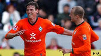 Pasanen über sein 1:0 für Bremen. (Foto: apn/Daniel Roland)