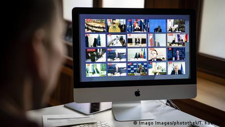 Bundesaussenminister Heiko Maas, SPD, nimmt Teil an einer Videokonferenz