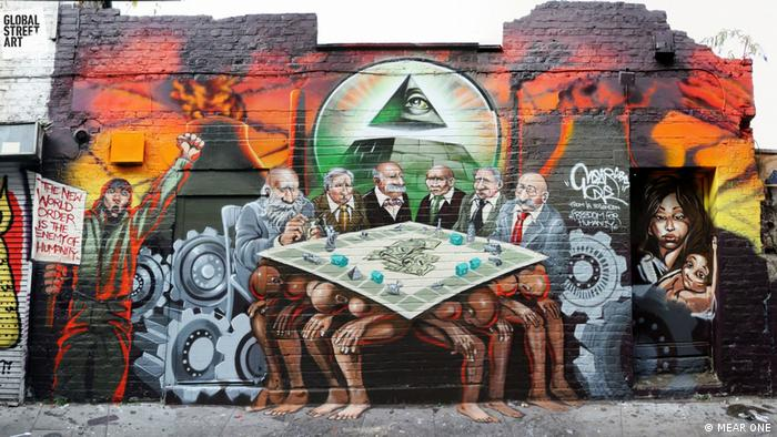 A mural depicting six bankers playing Monopoly in East London