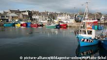 Fishing boats tied up in Fraserburgh harbor