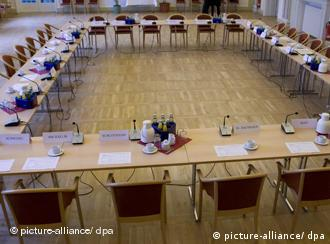 roundtable set up for a conference