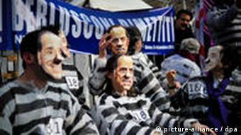 Protesters against Italian Prime Minister Silvio Berlusconi