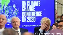 LONDON, ENGLAND - FEBRUARY 04: Sir David Attenborough and Prime minister Boris Johnson attend the launch of the UK-hosted COP26 UN Climate Summit, being held in partnership with Italy this autumn in Glasgow, at the Science Museum on February 4, 2020 in London, England. Johnson will reiterate the government's commitment to net zero by the 2050 target and call for international action to achieve global net zero emissions. The PM is also expected to announce plans to bring forward the current target date for ending new petrol and diesel vehicle sales in the UK from 2040 to 2035, including hybrid vehicles for the first time. (Photo by Jeremy Selwyn - WPA Pool/Getty Images)