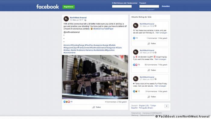 Screenshot Facebook Werbung für Waffenkäufe in Corona-Krise