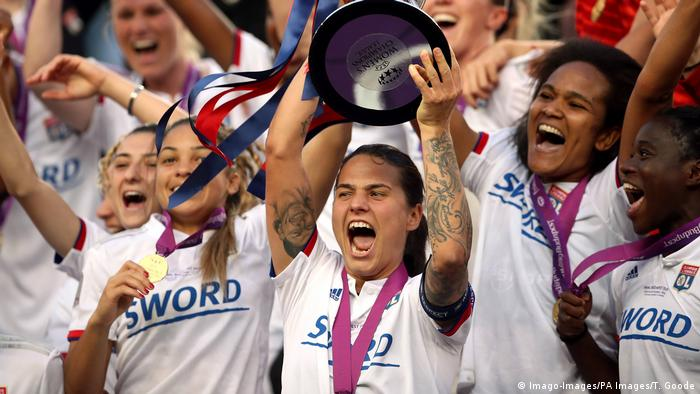 Germany's Dzsenifer Marozsan lifts the 2019 Champions League with Lyon