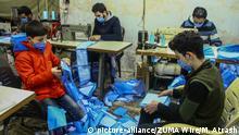 Syrien Idlib Coronavirus   Herstellung von Masken