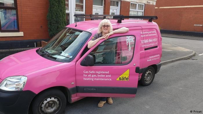 British plumber Philippa Cunningham and her bright pink van