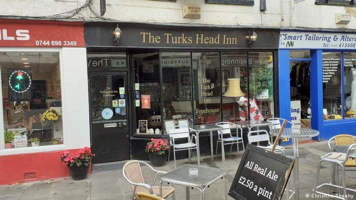 Outside of The Turks Head Inn micropub in Gloucester, England