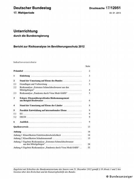 Izvješće o Analizi rizika za zaštitu stanovništva 2012., koje je upućeno njemačkom parlamentu u siječnju 2013. godine