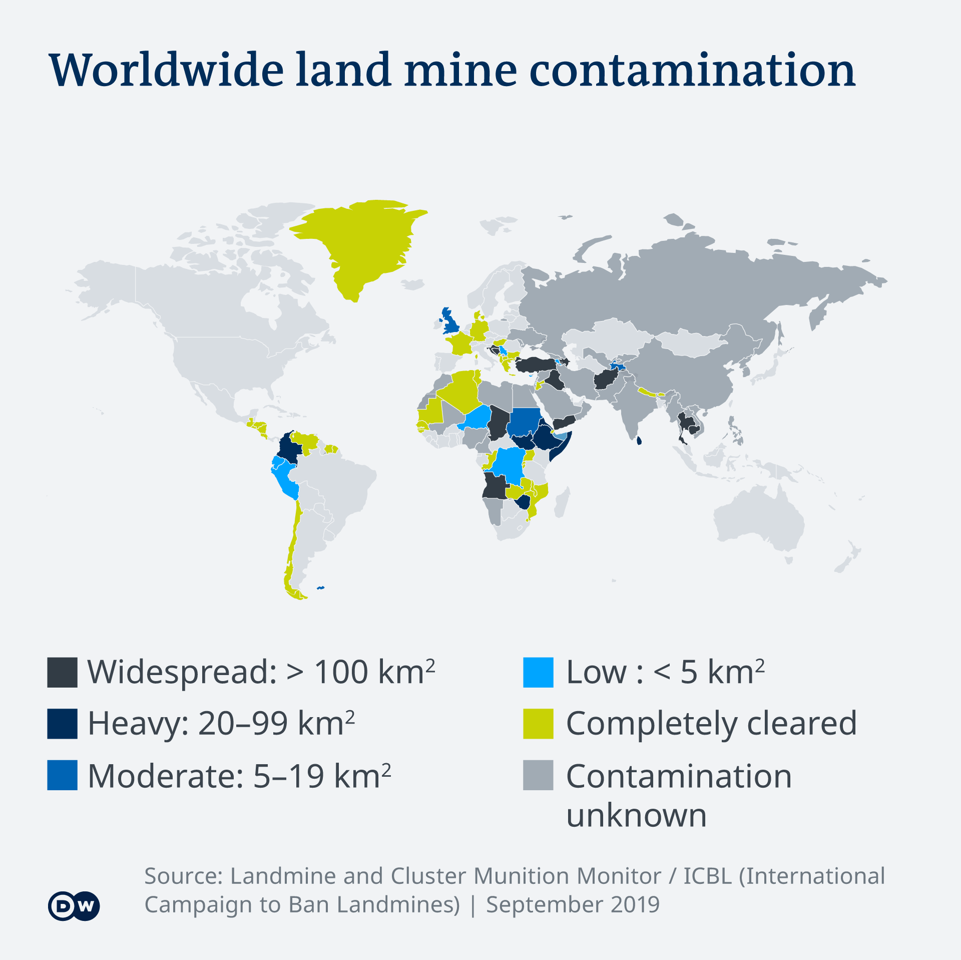 Infographic showing worldwide land mine contamination in 2019