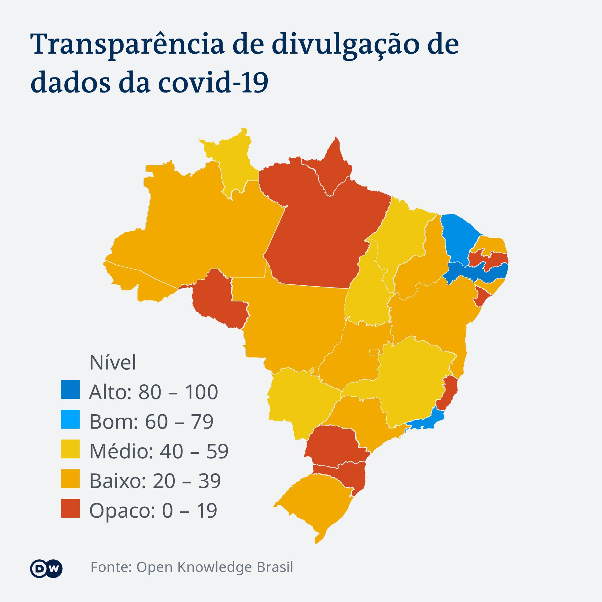 Infográfico sobre transparência de dados sobre covid-19 no Brasil
