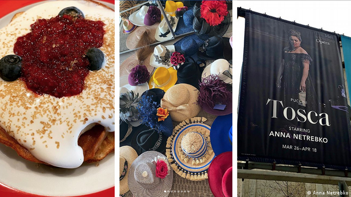 : Pancakes with cream topping and berries on top, a collection of colorful hats and a poster announcing an appearance of Anna Netrebko in Tosca