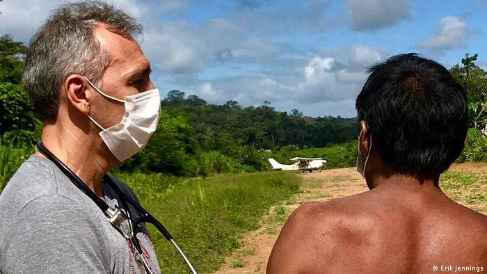 Dr. Erik Jennings and a member of the Zoe indigenous group in Brazil's Amazon region (Erik Jennings)