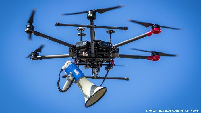 A Dutch police drone with a megafone