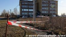 A police tape at the site of a mass shooting in an apartment building in the village of Yelatma, north-eastern Ryazan (picture-alliance/dpa/TASS/A. Ryumin)