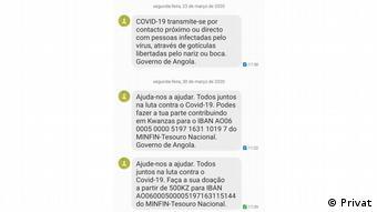 Mensagem enviada por SMS pelo Governo de Angola pede doações para combater a Covid-19