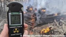 A Geiger counter shows increased radiation level against the background of the forest fire burning near the village of Volodymyrivka in the exclusion zone around the Chernobyl nuclear power plant, Ukraine, Sunday, April 5, 2020. (AP Photo/Yaroslav Yemelianenko) |