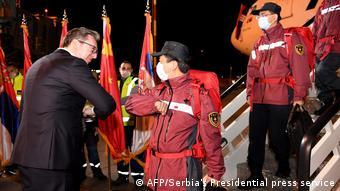 Coronavirus Serbien Belgrad Vucic empfängt Hilfe aus China (AFP/Serbia's Presidential press service)