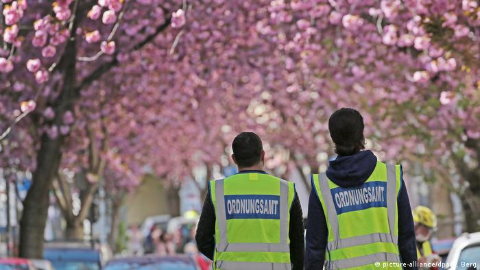cherry blossoms and two people wearing yelow vests that read public order office (picture-alliance/dpa/O. Berg)