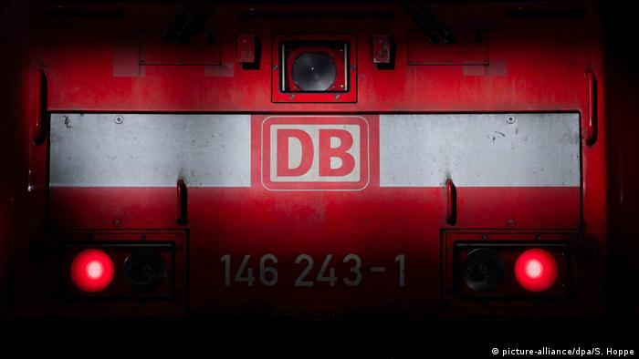 The Deutsche Bahn logo on a train