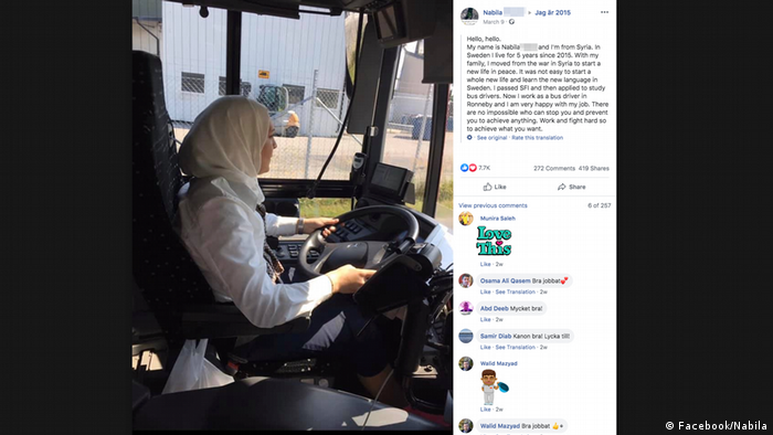 A screenshot of the Facebook campaign Jag är 2015 (I am 2015) showing a bus driver named Nabila
