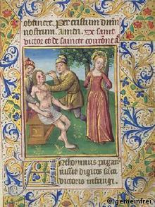 Мучения св. Виктора. Справа - св. Корона. Миниатюра 1480 г.