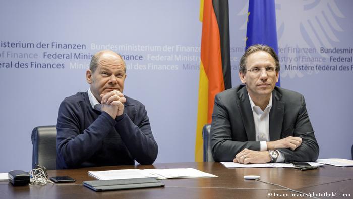 EU-Finanzministertreffen per Videoschalte Olaf Scholz